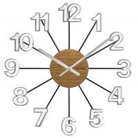 Drevené strieborno-čierne hodiny Vlaha design VCT1072, 42 cm