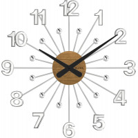 Drevené strieborné hodiny s kameňmi Vlaha design VCT1080, 49cm
