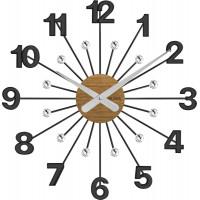 Drevené čierne hodiny s kameňmi Vlaha design vlahu VCT1081, 49 cm