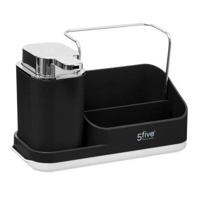 Dávkovač mydla s organizérom, čierny- 5five Simple Smart