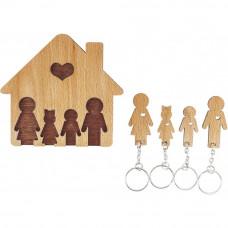 Domček so sadou kľúčeniek MIMI Rodina - rodičia, dcéra, syn