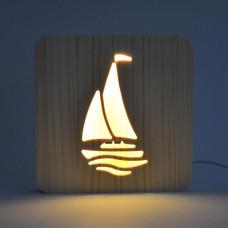 Drevená lampa AmbiWood 32665, plachetnica