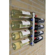 Nerezový držiak na fľaše na stenu na 8 fliaš