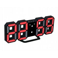 Červené LED hodiny s budíkom VG 458P, 23 cm