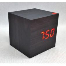 Čierne LED hodiny s dátumom a budíkom EuB 8467, 6 cm
