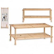 Dvojúrovňový drevený botník 7671, 74 cm
