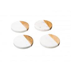Sada 4 mramorových podložiek pod poháre Secret de Gourmet 701A, biela