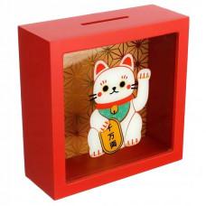 Pokladnička mačka pre šťastie Maneki Neko MB258, červená