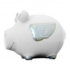 Pokladnička biele prasiatko s krídlami 6879, 13 cm