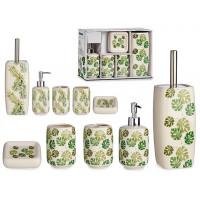 Sada kúpeľňových doplnkov Berilo 4947 zelené listy, 5 kusov