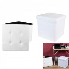 Skladací taburet s vekom Home deco factory HD3402, biely