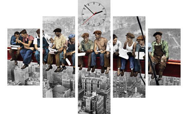 5-dielny obraz s hodinami, NY Robotníci, 100x70cm