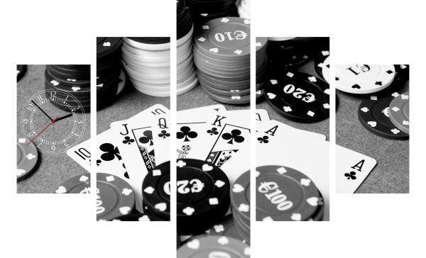 5-dielny obraz s hodinami, Poker, 100x70cm