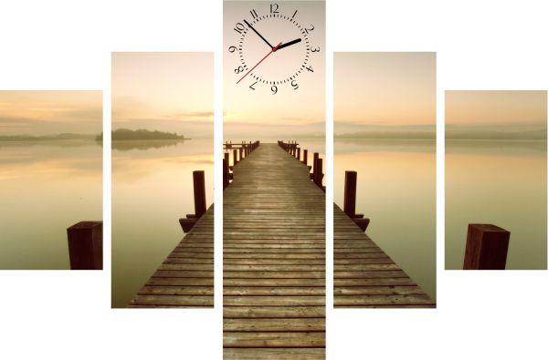 5-dielny obraz s hodinami, Morning, 100x70cm
