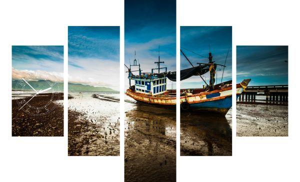 5-dielov hodiny ako obraz Rybárska Loď, 100x70cm