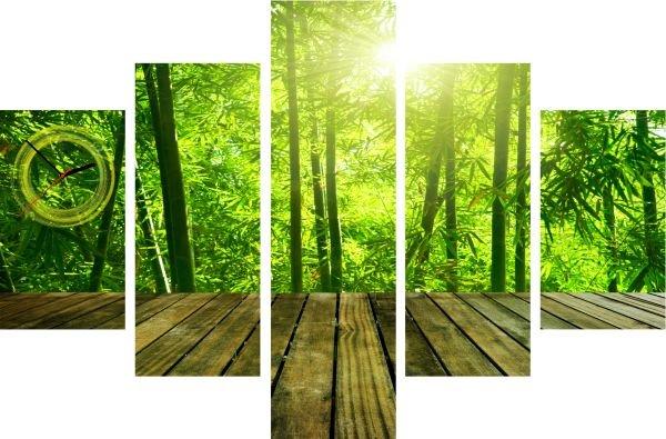 5-dielov, Hodiny ako obraz, Bamboo, 100x70cm
