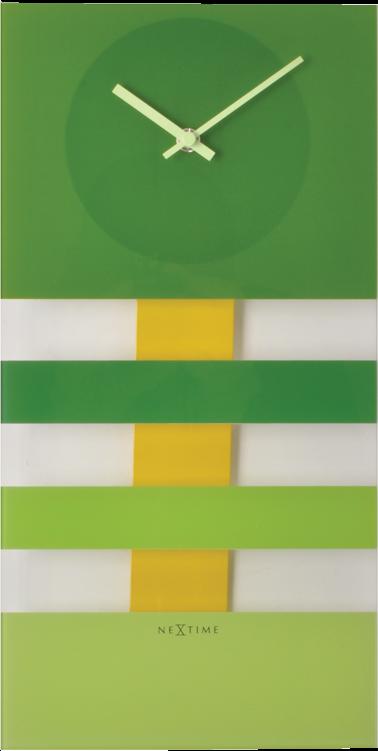 Bold Stripes kyvadlové nástenné hodiny Nextime zelené 38x19cm
