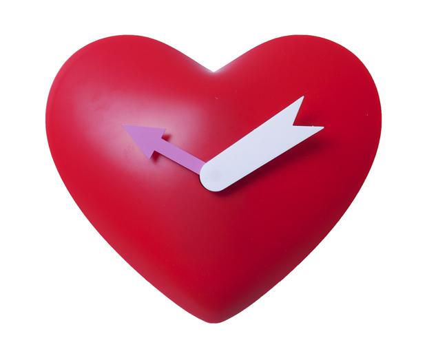 Detské kyvadlové nástenné hodiny Srdce, červené, 25cm