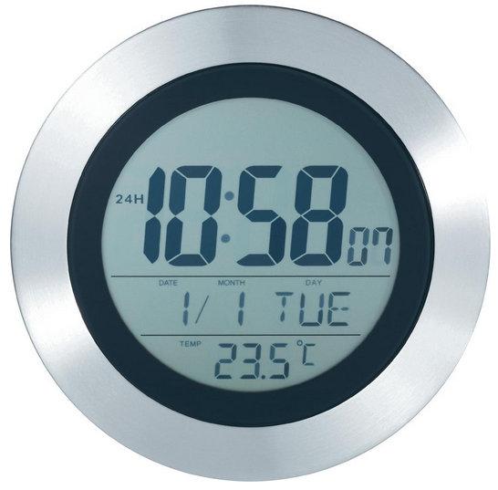 Digitálne nástenné DCF hodiny s teplomerom, 20 cm