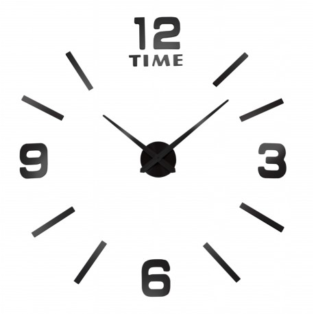 3D nalepovacie hodiny DIY BAST, 80-100 cm, čierne
