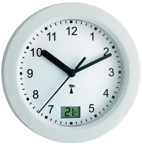 Nástenné DCF hodiny do kúpeľne, biele 17.5 cm