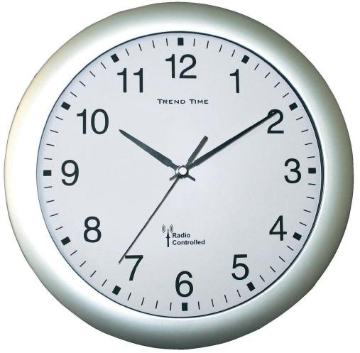 Nástenné hodiny DCF, strieborná 30 cm,