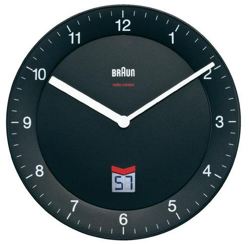 Nástenné hodiny DCF Braun, čierne 20cm