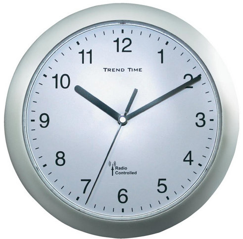 Nástenné hodiny DCF Trend time, strieborné 25 cm
