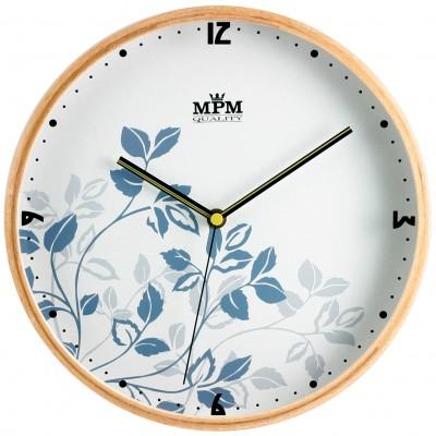 Nástenné hodiny MPM, 2532.5400 - tmavé drevo/biela, 25cm