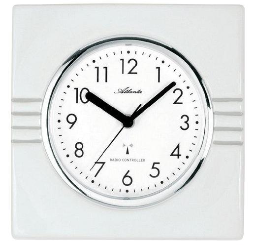 Nástenné keramické DCF hodiny Atlanta , biele 21cm