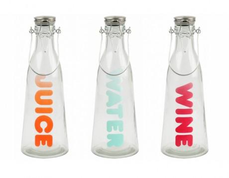 Sada fľašiek na vodu, džús a víno