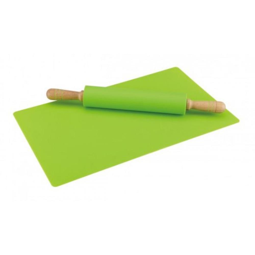 Silikónový valček na cesto s podložkou, zelený