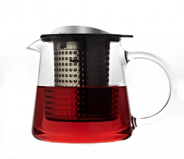 Sklenená kanvica na čaj FINUM Tea Control ™ 0,4 L, čierna / nere