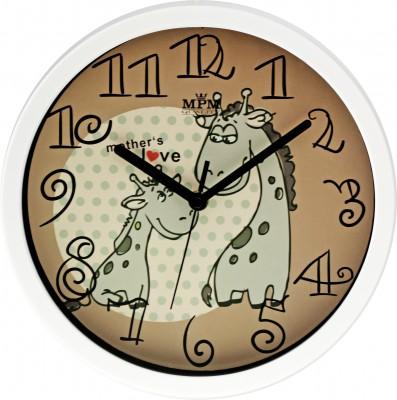 Detské nástenné hodiny MPM, 3090.0050.SW - biela/hnedá, 26cm