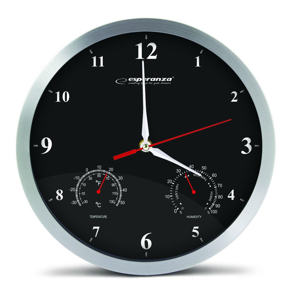 Nástenné hodiny ESPA WAS008K, čierne 30cm
