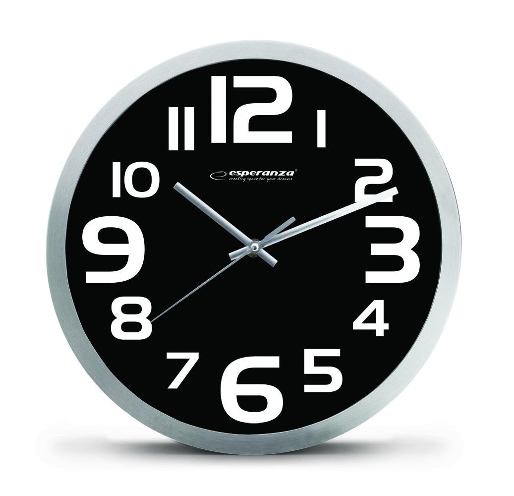 Nástenné hodiny ESPA ZUR013K, čierne 25cm