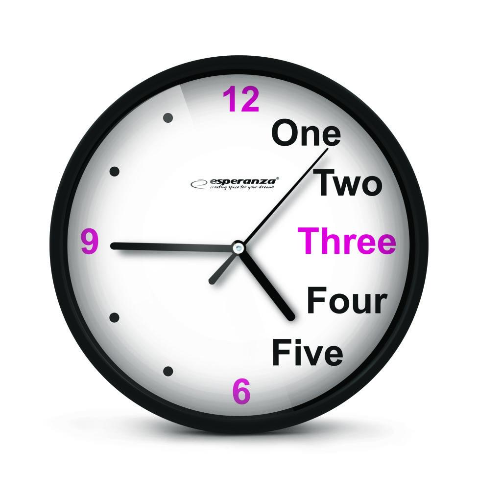 Nástenné hodiny ESPA PRA014K, čierne 20cm