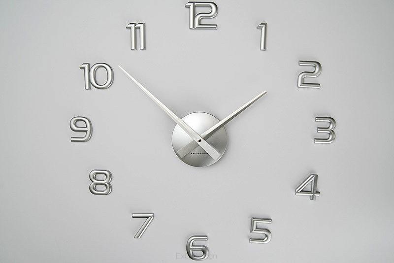 Nástenné hodiny ExitDesign Little Numbers, strieborné 732S, 50-70cm