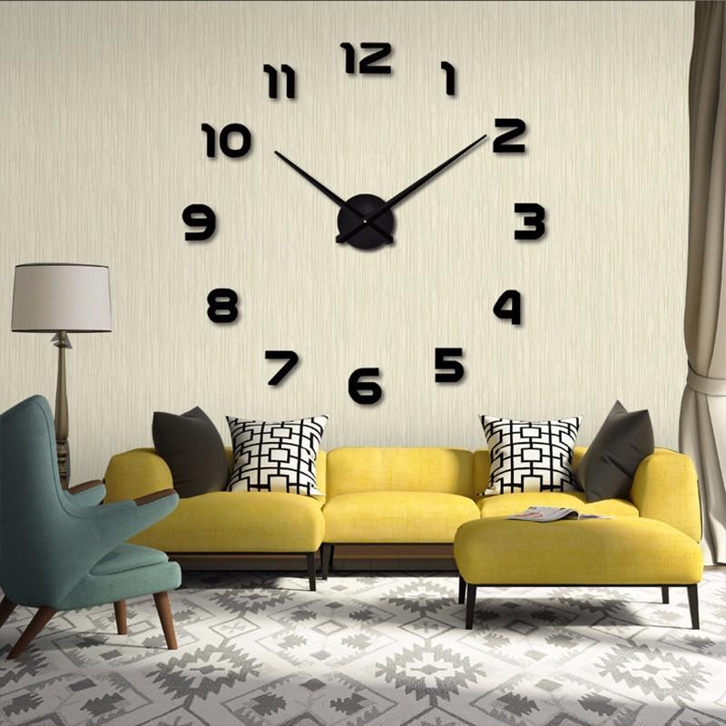 3D Nalepovacie hodiny DIY Clock 1-12, Black 80-130cm