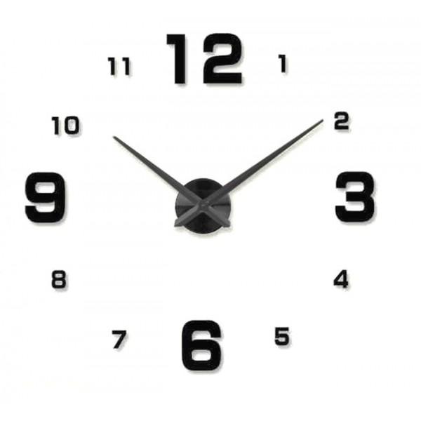 3D Nalepovacie hodiny Clock BIG 3-12 XL, čierne 90-130cm