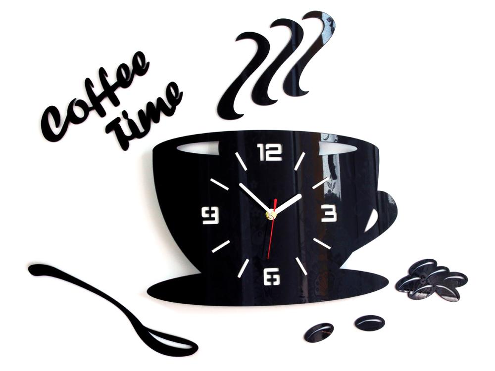 Nástenné hodiny DIY, Coffee Time Black, 64x43cm