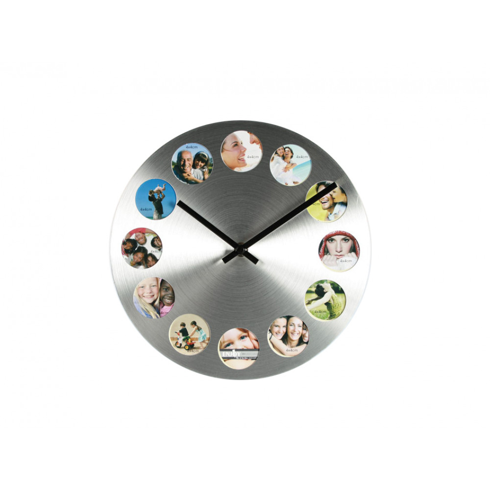 Nástenné hodiny s 12 fotorámikmi strieborné, KEM81, 25cm