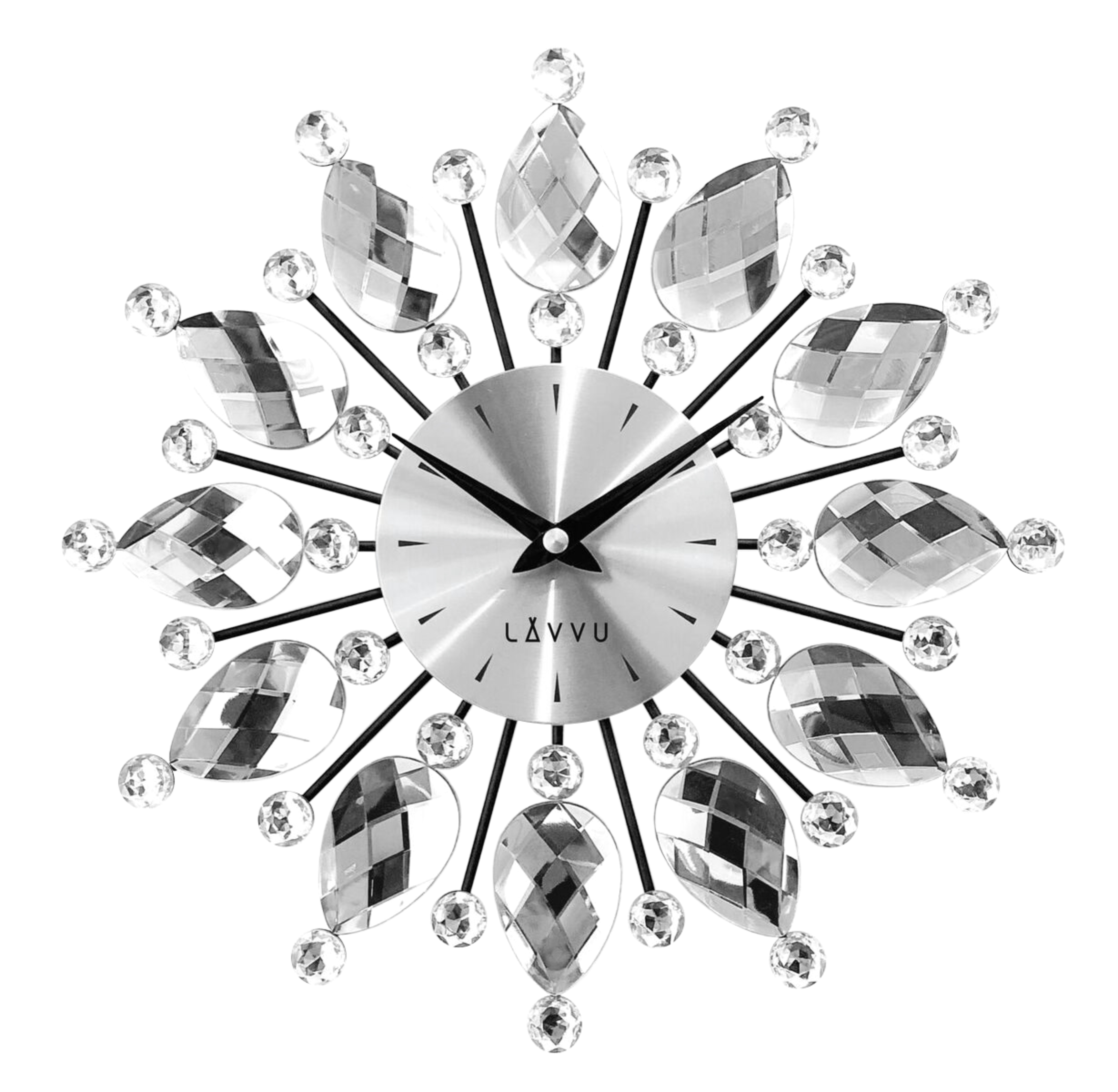Nástenné hodiny LAVVU LCT1120 CRYSTAL Flower Strieborné, 33 cm