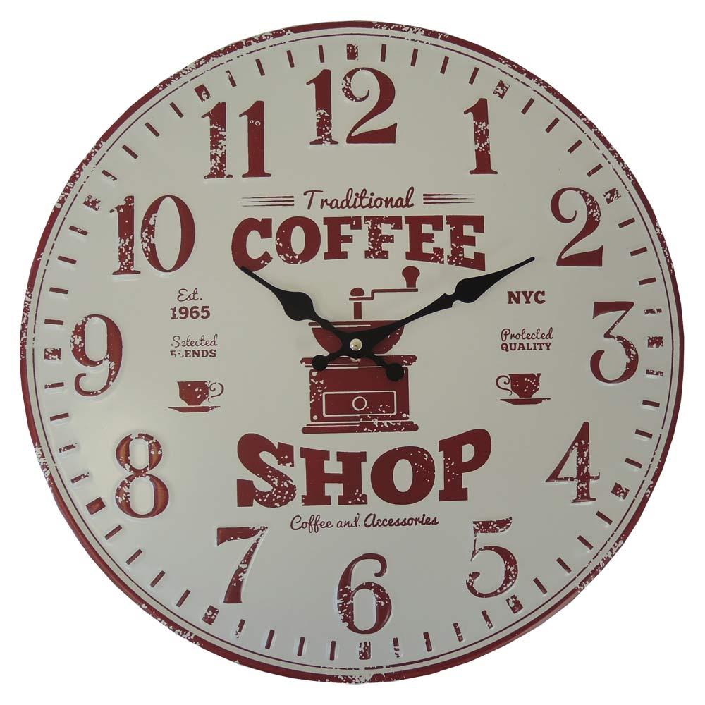 Nástenné hodiny kovové Vintage, Coffee shop, HM11MH, 40cm