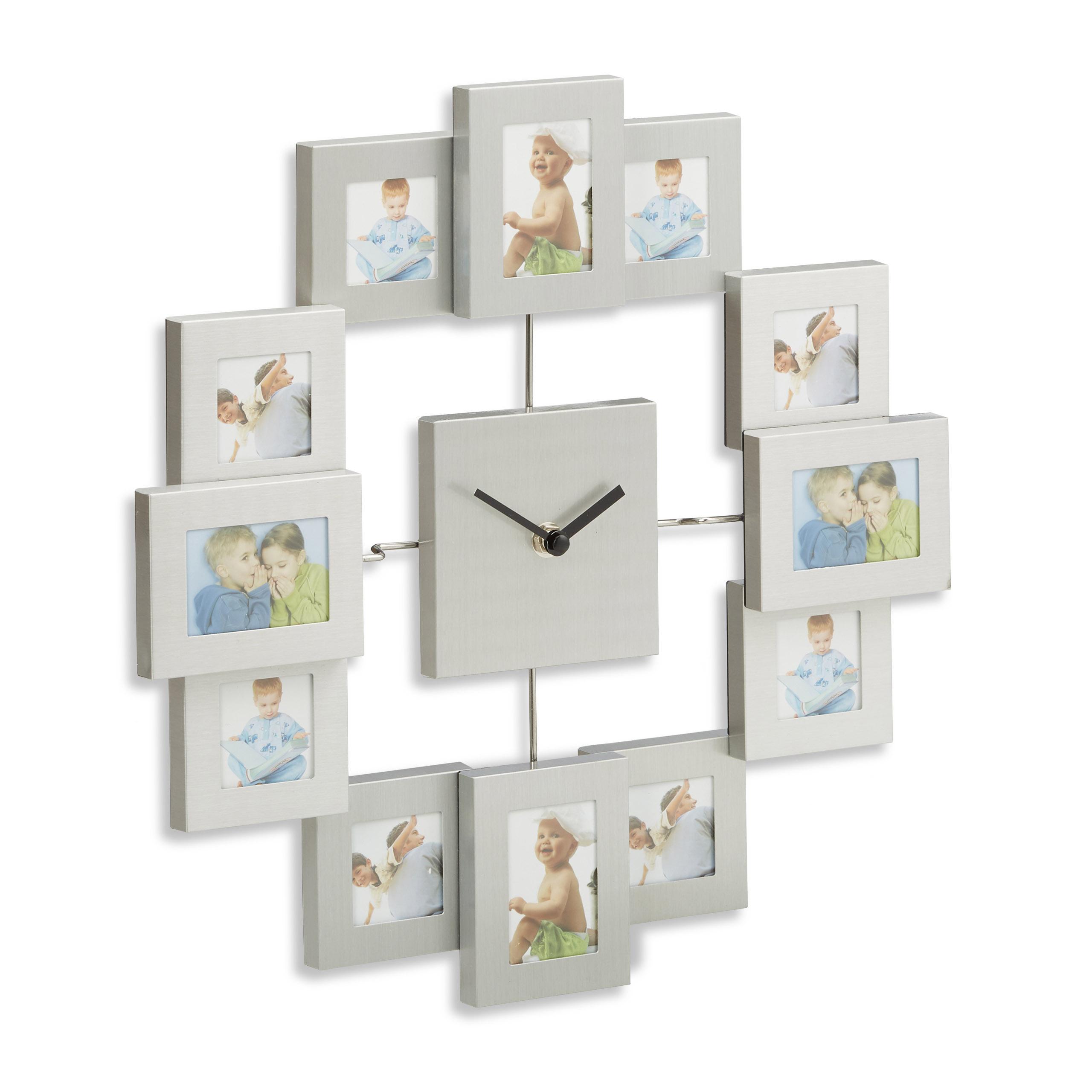 Nástenné hodiny s 12 fotorámikmi strieborné, rd1960 35cm