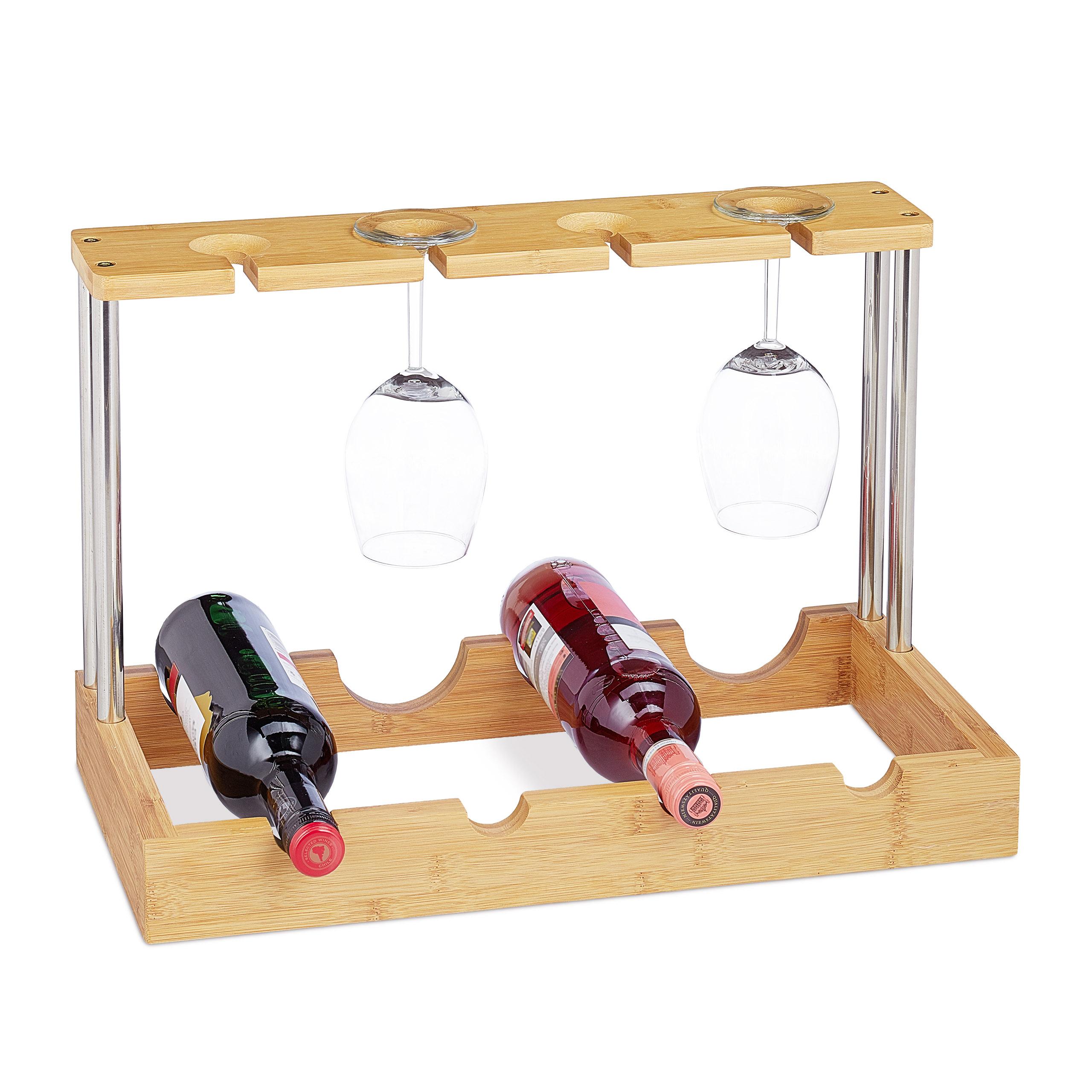 Bambusový stojan na víno na 4 fľaše a poháre, RD2230