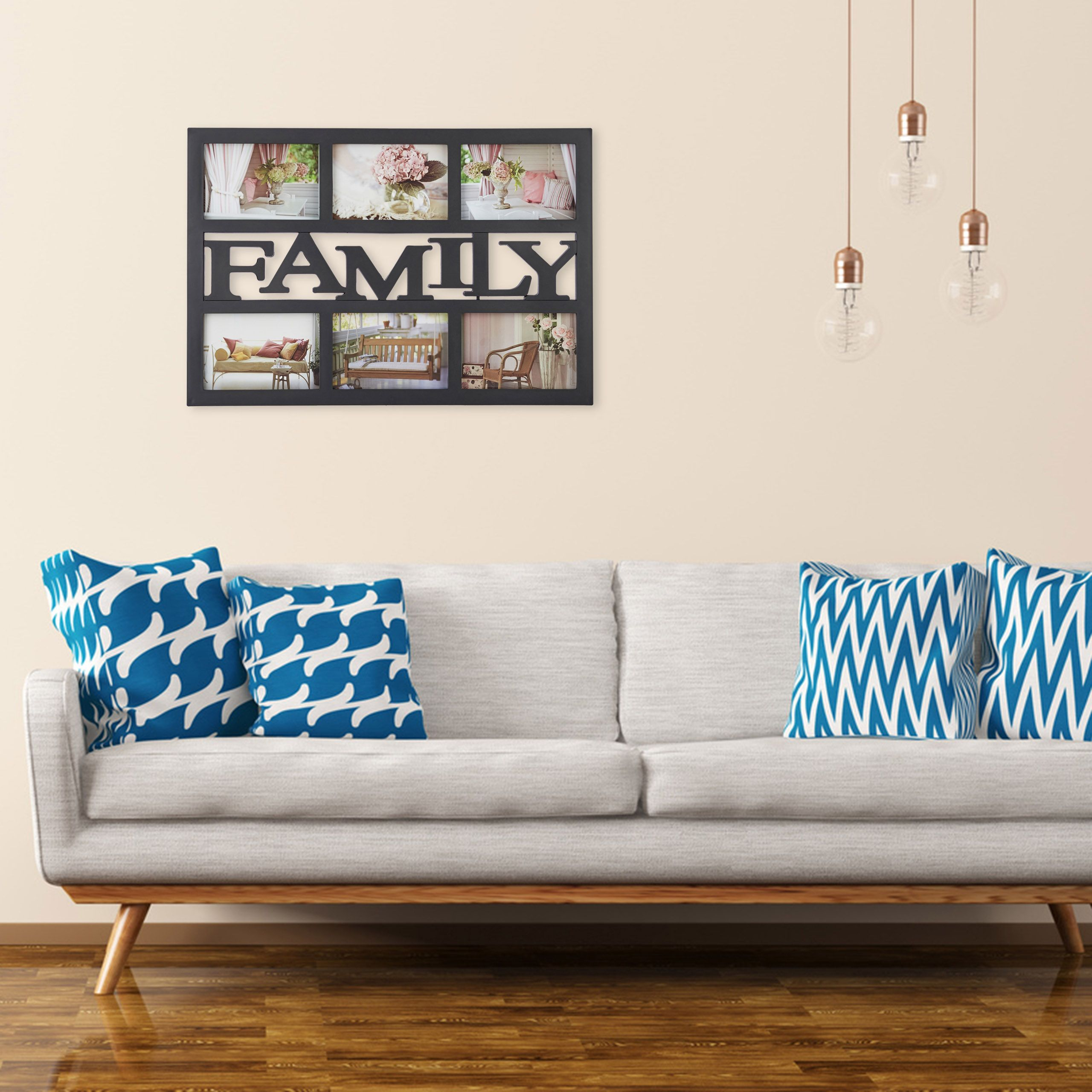 Multirám na 6 fotiek Family čierny 6x 10x15cm RD1951