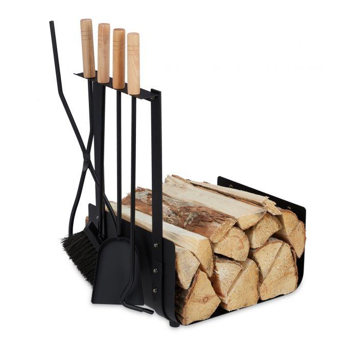 Kovový kôš na palivové drevo s krbovým náradím RD3828