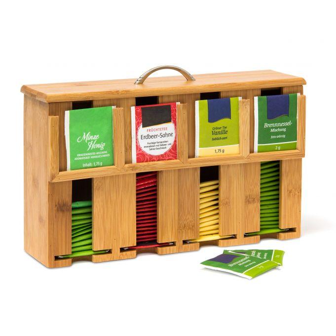 Zásobník na čajové vrecúška z bambusu so 4 priehradkami, RD9149