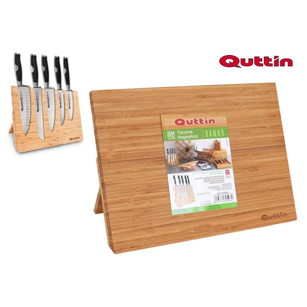 Bambusový stojan na nože Quttin 9598, magnetický